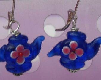 Teapot Earrings Lampwork Glass Beads in Royal Blue with Hand Painted Flower French Hooks