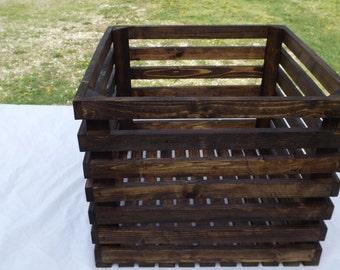 Reclaimed Wooden Crate With Walnut Finish, Toy Storage, Shoe Storage, Home Decor, Kitchen Storage