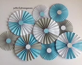 Paper Rosettes/ Fans - Light Blue, Gray, White