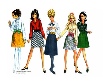 Simplicity 7759  Vintage 60s Skirt and Blouse Sewing Pattern Bust 34