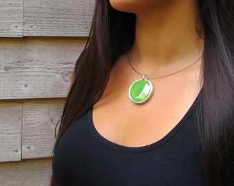 Grass Green Pendant Necklace,  glass marble pendant, glass jewelry, necklace pendant 032