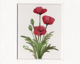 Red Poppies Group 5x7 Matted Original Watercolor by Wandas's Watercolors