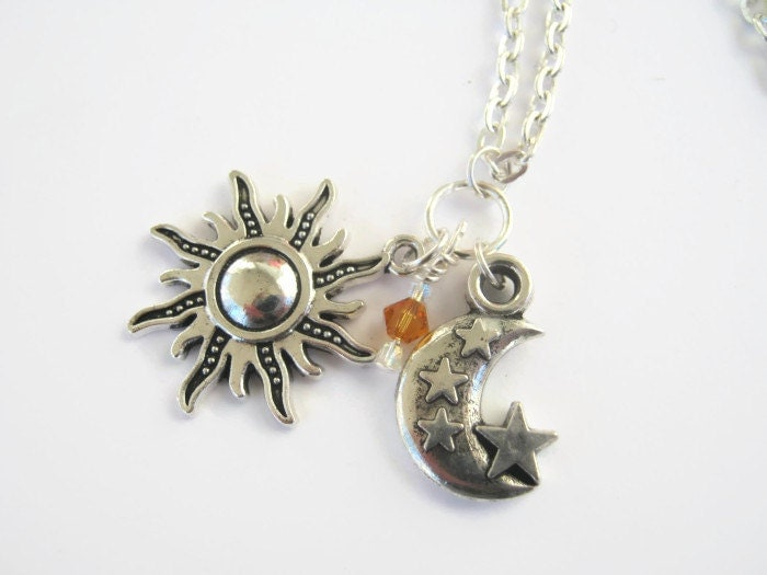 Sun Moon Amp Stars Necklace Personalized Birthstone Jewelry