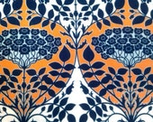 Joel Dewberry Fabric - 1/2 Metre Botanique - Leafy Damask in Apricot / Fountain Palette (Deep Water and Apricot) ships from Australia