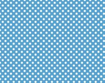 Riley Blake Fabric - 1/2 Metre Small Dots in Medium Blue