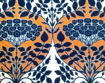 Joel Dewberry Fabric - 1 Fat Quarter Botanique - Leafy Damask in Apricot / Fountain Palette (Deep Water and Apricot) ships from Australia