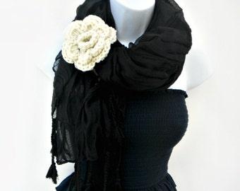 Winter Tassel Scarf Womens Fashion Scarf Black Fringe Scarf Black Shawl Ladies Scarf Winter Scarf Fashion Accessories Winter Accessories