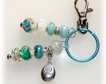 "Aqua ""Follow Your Dreams"" Beaded Key Ring"