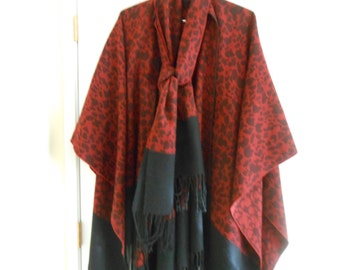 S A L E vintage one size fits all poncho shawl cover-up red black wool fringed designer