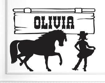 Custom Name Vinyl Decal, Girl Nursery Name Decal, Girls Room Decor, Cowgirl Cowboy Decor, Girl & Pony Wall Decal (816tt)