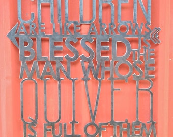 Metal Scripture Wall Hanging Children are like arrows blessed is the man whose quiver is full of them