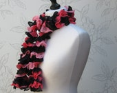 Pink Navy Black Ruffle Scarf, Hand Knit Scarf, Pink And Black Ruffled Scarf,