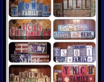 Police Officer Firefighter Fire Theme Family Name Home Decor Wood Blocks