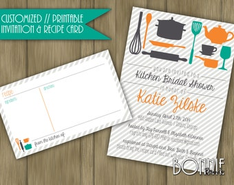 CUSTOMIZED // PRINTABLE // Kitchen Bridal Shower Invitation and Recipe Card  // Emerald Green, Dark Gray and Apricot