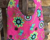 TODDLER BIB Bright Flowers on Pink