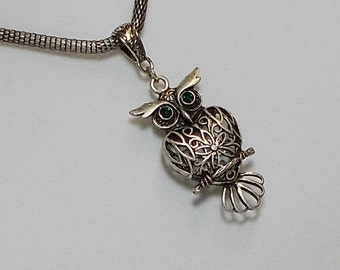 Antique Silver Pewter Filigree Owl Pendant Necklace
