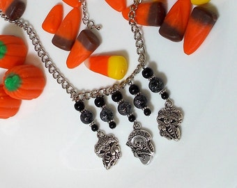 Skelton Charm Necklace, Haloween Necklace, Silver Skelton Pewter Charm With Black Crackle Quartz Stone Halloween Necklace