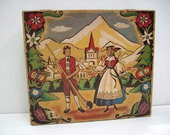 Vintage Swiss Storage Box with Alpine Motif, Switzerland Native Costumes