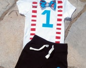 Dr Seuss Birthday Bow Tie and Suspender Bodysuit with Shorts Baby Boy First Birthday Party Little Man Tie Outfit