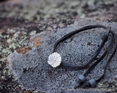 Sterling silver Blossom on black kangaroo leather lace. Blossom wrist lace. Flower bracelet. Baby's Breath.