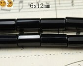 15 inch strand of natural Black Onyx faceted tube beads,column beads,cylinder beads 6x12mm