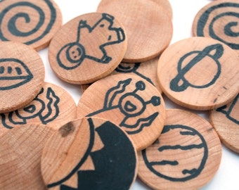 Space Wooden Matching Game - Montessori Toys - Waldorf Toy - Eco Friendly Wooden Travel Game