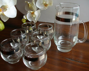 Vintage Mad Men Style, Libbey Cocktail Set: Small Pitcher and Roly Poly Glasses