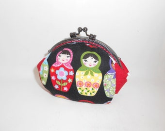 Russian Dolls  Matryoshka red black coin/change pouch/purse/wallet w metal frame