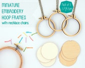 """Miniature embroidery hoop frames with necklace chains - PACK OF 3 - 5.5cm/2.2"""" hoop - unique Dandelyne design"""