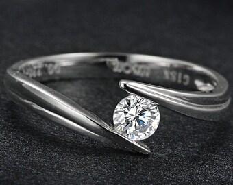 Engagement Ring -  0.2 Carat Diamond Engagement Ring In 14K White Gold