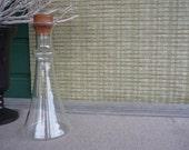 Vintage Dansk Glass Decanter, Danish Modern Glass Carafe with Teak Lid, Scandinavian Glass Jug