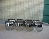 Vintage Silver Ombre Roly Poly Glasses, Set of 8, Mid Century Modern Barware