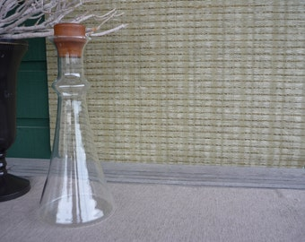 Vintage Dansk Glass Decanter, Danish Modern Glass Carafe with Teak Lid, Scandinavian Glass Jug