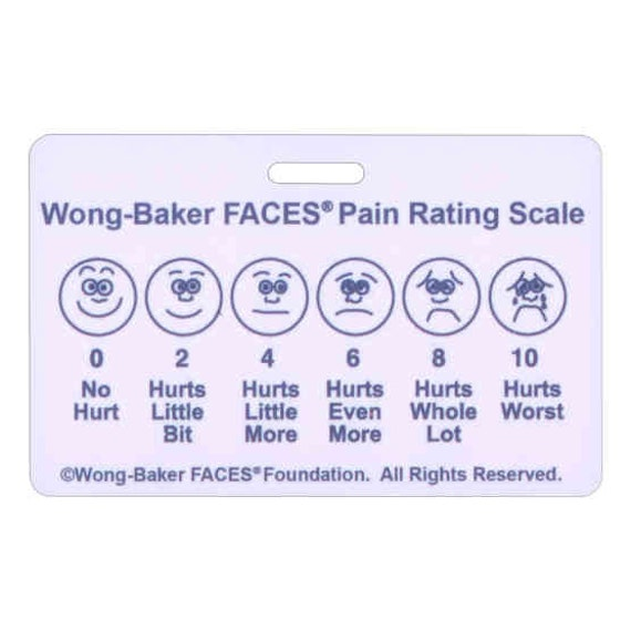 Wong Baker FACES® Pain Rating Scale Horizontal W/ Num Rating