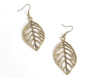 Antique Look Brass Leaf Earrings