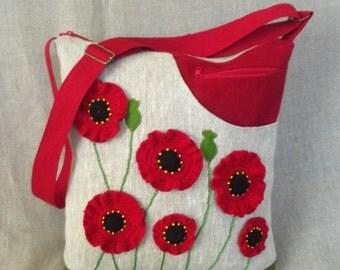 Eco Friendly Linen Crossbody Bag Zippered Gray Burlap Linen Bag Red Poppies