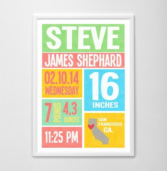 Personalized baby birth print, baby subway art, custom baby name art, birth stats wall art, new baby wall decor, baby birth stats