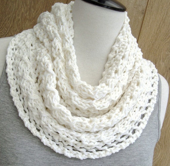 Knitting Pattern Lace Infinity Scarf : KNITTING PATTERN Lace Scarf Simple Knit by Richmondhillknits