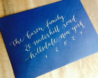 Wedding Envelope Calligraphy Addressing by Professional Calligrapher for Wedding Invitations in a Modern Calligraphy Style