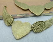 6PCS Antique bronze 25x25mm wing heart with pad Bezel Cup Cabochon Jewelry Findings charm connector- WC2162