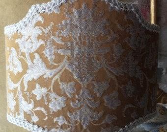 Half Lamp Shade Bronze & Silver Silk Jacquard Fabric Rubelli Les Indes Galantes Pattern Lampshade - Handmade in Italy