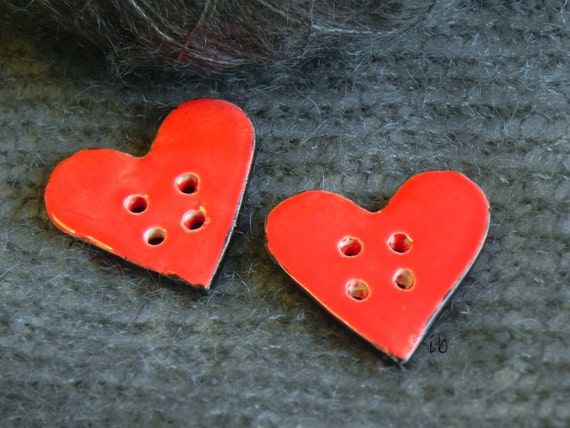 Valentine's Day Ceramic Heart Buttons Red and Black Unique For Knitters Four Holes Set of 2