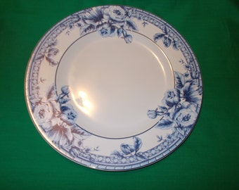 "Two (2), 10 3/4"" Dinner Plates, from Interiors, by PTS International, in the Cottage Rose Pattern."
