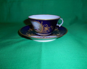 One (1), Antique Porcelain, Hand Decorated, Tea Cup & Saucer, from Sevres 1844, marked Chateau Des Tuileries.
