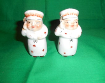 One (1), Vintage Pair of; CHEF, Porcelain, Salt & Pepper Shakers.