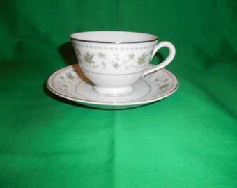 One (1). Footed, Porcelain Tea Cup & Saucer, from Rose China, in the Springtime 3417 Pattern.