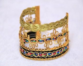 Three band gold deco cuff