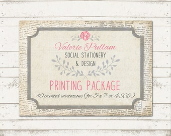 5X7 Professionally Press Printed Invitations - Printed on Cardstock - Quantity 40 - with envelopes