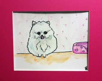 Original 8x10 Pomeranian Watercolor