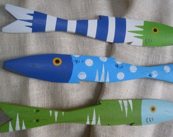 Set of 3 BLUE and GREEN Picket Fish Hand Painted Reclaimed Salvaged Wood